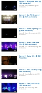 Maroon 5 in Amsterdam Videos (Feb 2011) : click and jump